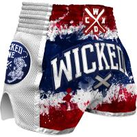 Шорты Муай Тай Wicked One Glorious - White/Blue/Red