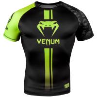 Рашгард Venum Logos SS - Black/Neo Yellow