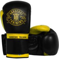 Боксерские перчатки Hardcore Training Premium - Black/Yellow