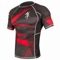 Рашгард Hayabusa Metaru 47 Silver Shortsleeve - Black/Red