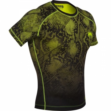 Рашгард Venum Fusion Short Sleeves - Black/Yellow | Фото 1