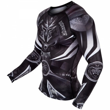 Рашгард Venum Gladiator 3.0 Long Sleeves - Black/White | Фото 5