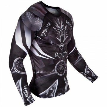 Рашгард Venum Gladiator 3.0 Long Sleeves - Black/White | Фото 1