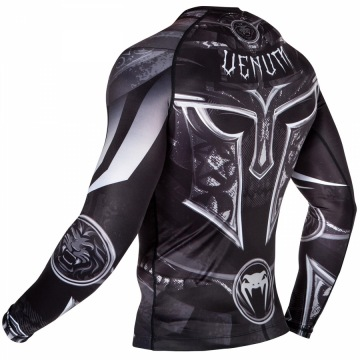 Рашгард Venum Gladiator 3.0 Long Sleeves - Black/White | Фото 4